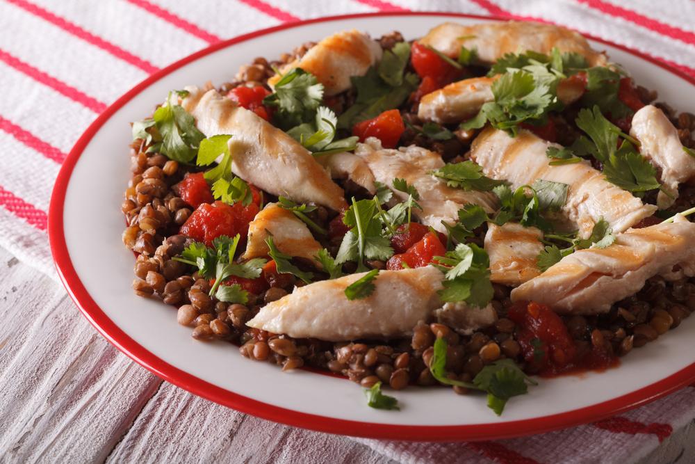Linsen Hähnchen Salat